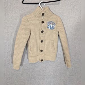 A&F Wool Blend Chunky Cardigan Sweater